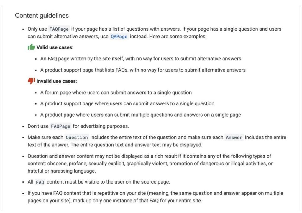 google faq retningslinjer
